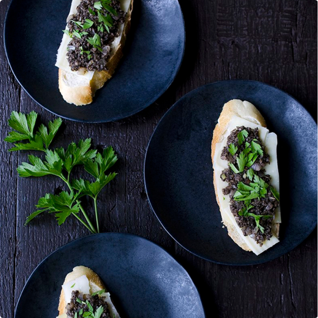 Roasted oyster Mushrooms and swiss baguette bites